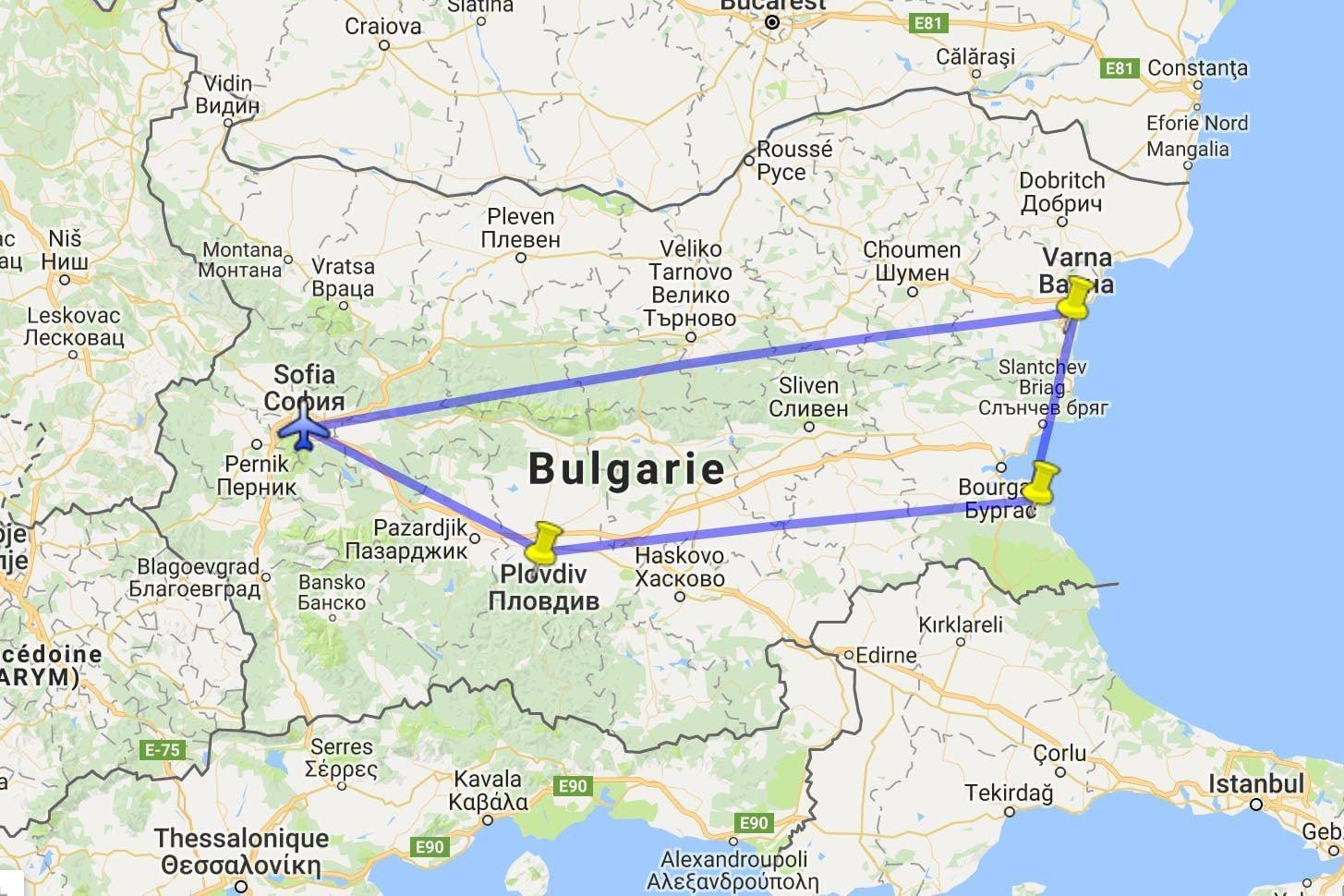 Carte de notre voyage en Bulgarie