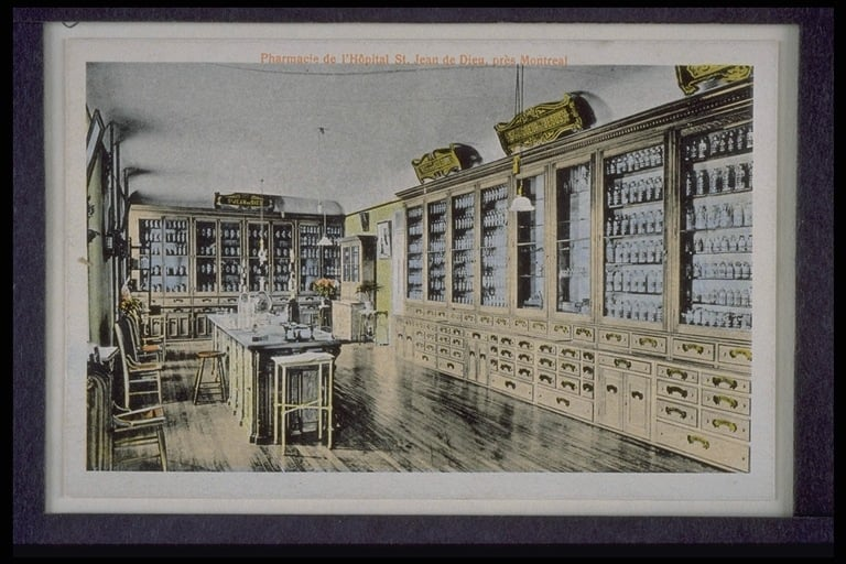 L'Hôpital Louis-H. Lafontaine : pharmacie de Saint-Jean de Dieu (archives)