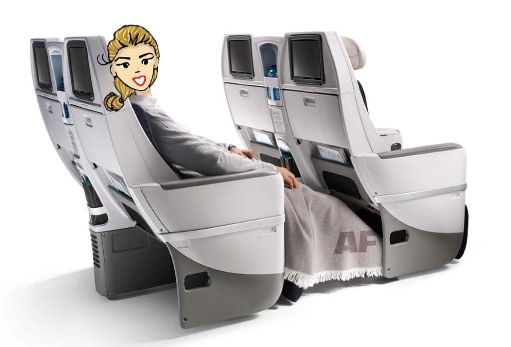 Cynthia en classe premium voyageur de Air France
