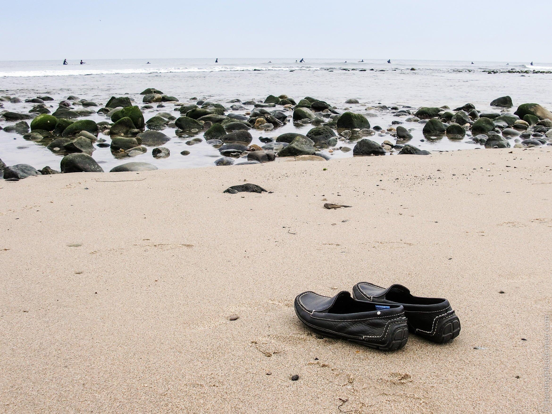 Mocassins sur la plage de Malibu