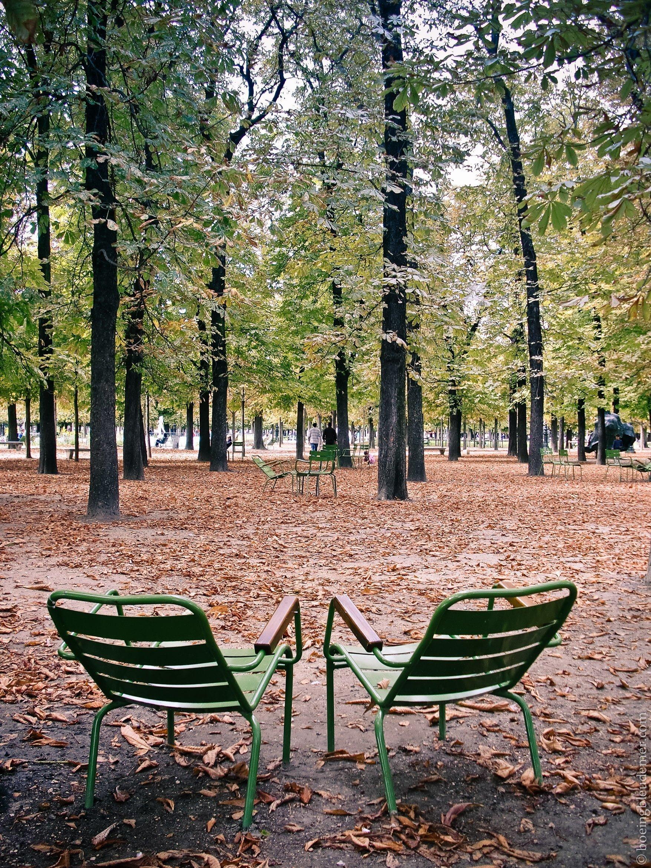 Deux chaises des Tuileries à l'automne