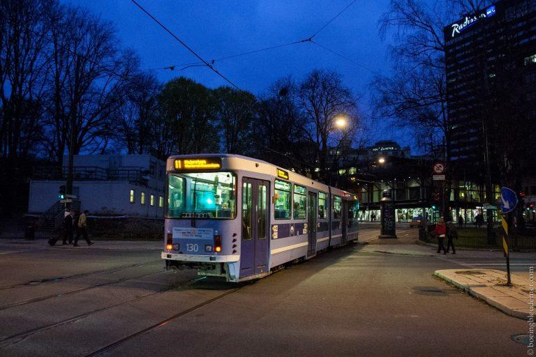 Oslo la nuit, tramway