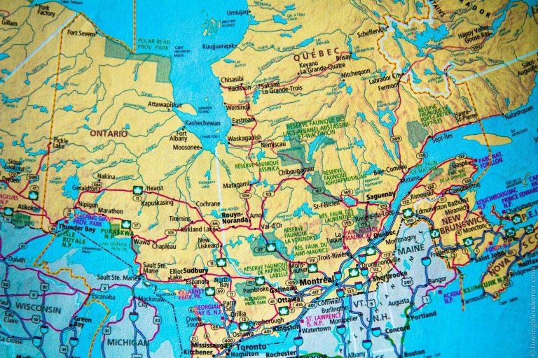 Plannifier au roadtrip au Québec, carte