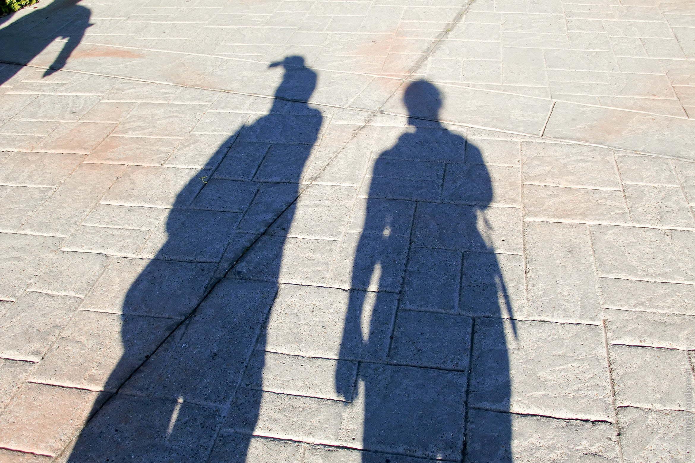 Ombre père et fille en voyage